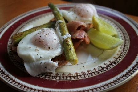 Poached Eggs, Asparagus and Bacon