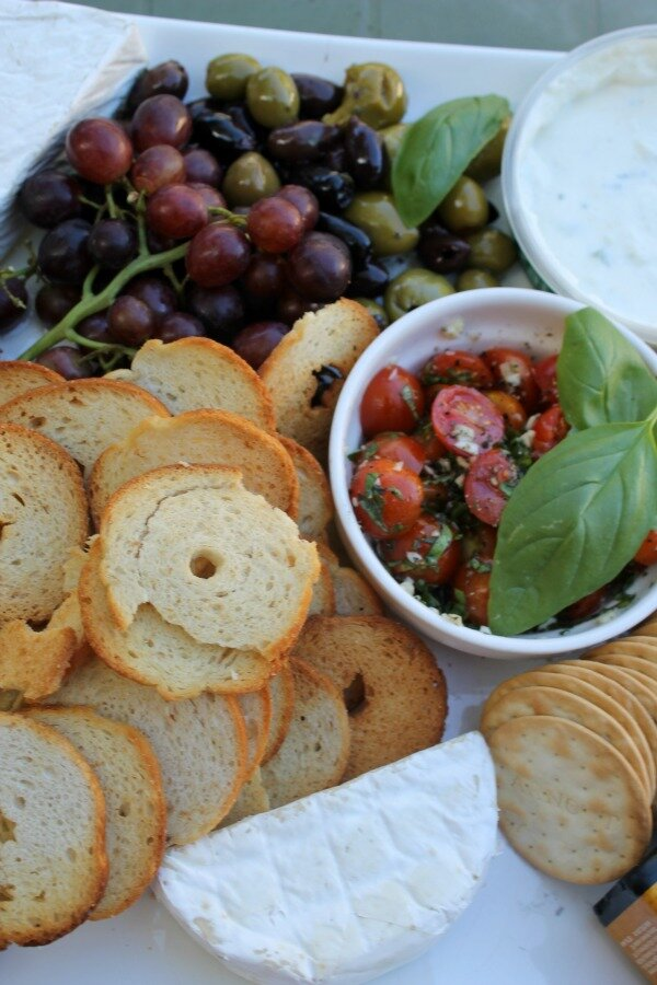 grapes, olives and tomatoes