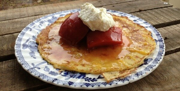 buttermilk pancakes, poached quinces and yoghurt