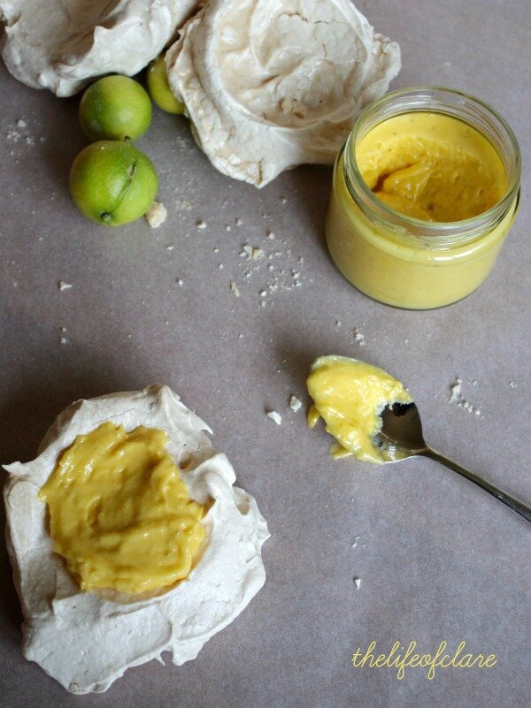 lime curd and meringues