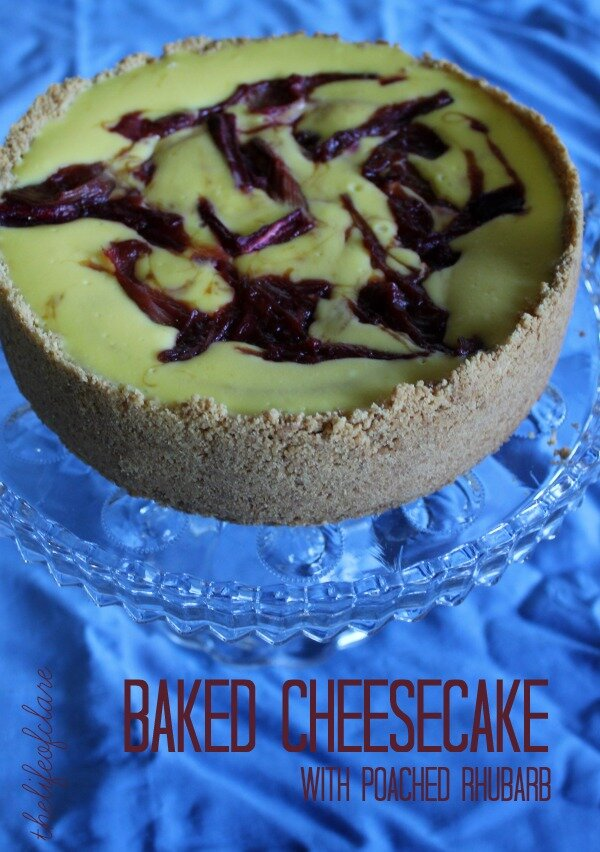 Baked Cheesecake With Poached Rhubarb