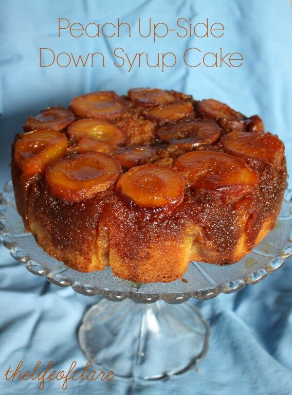 peach up-side down syrup cake