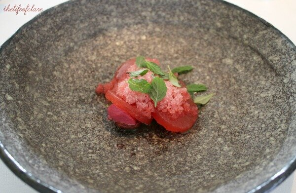 Brae Restaurant Watermelon, quandong, rhubarb and rose
