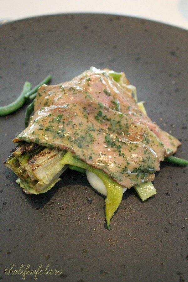 Brae restaurant lamb, beans and lettuce