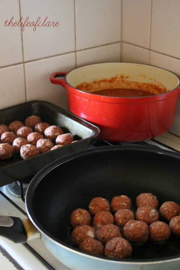 frying meatballs