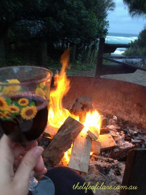 wine, fire, ocean