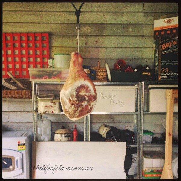 hanging prosciutto