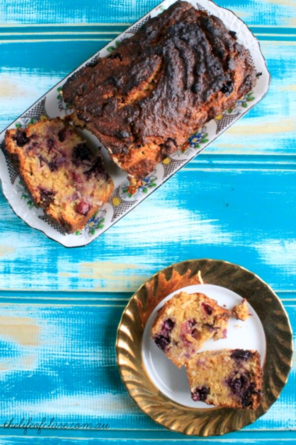 lemon, blueberry and coconut cake