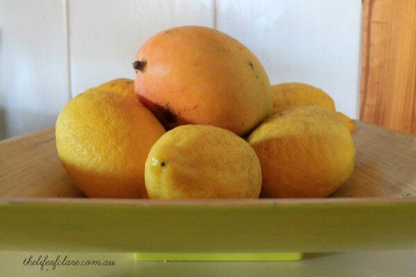 yellow fruit bowl