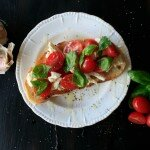 bocconcini, basil, tomato and garlic toast