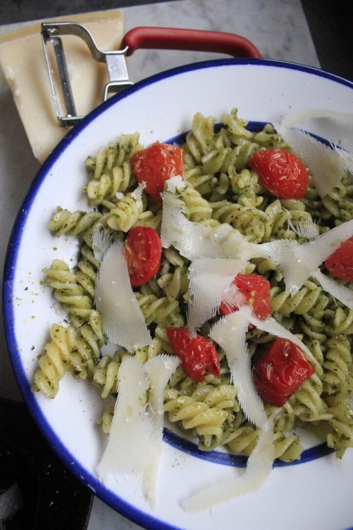 roast tomatoes and pesto
