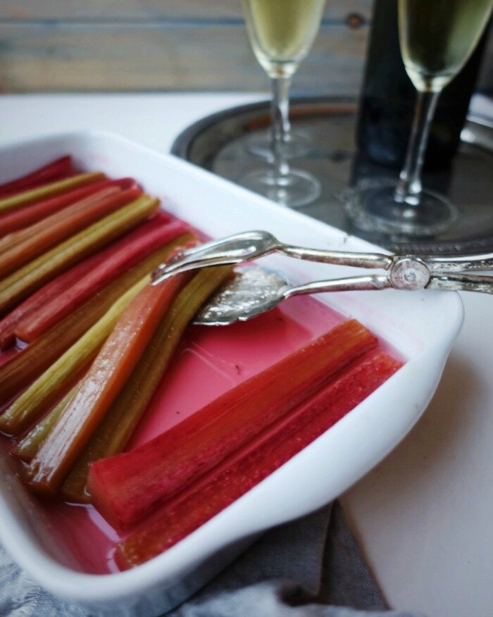 Champagne Poached Rhubarb