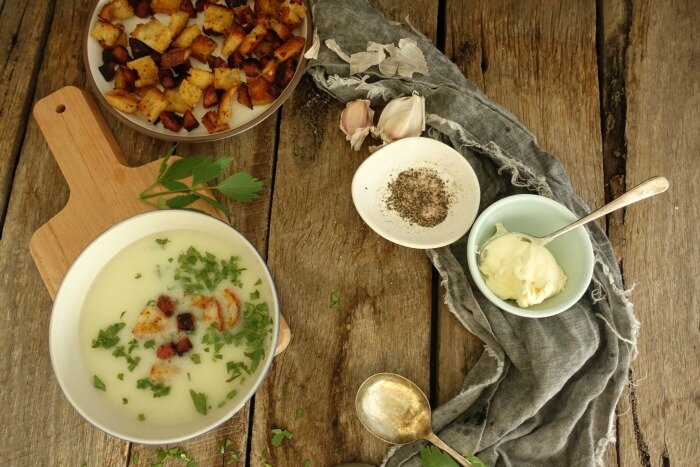 Cauliflower Soup with Chorizo Croutons